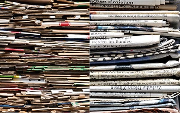 Image montage of stacked newspaper and cardboard
