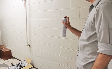 Image of a man spraying insecticide into a room