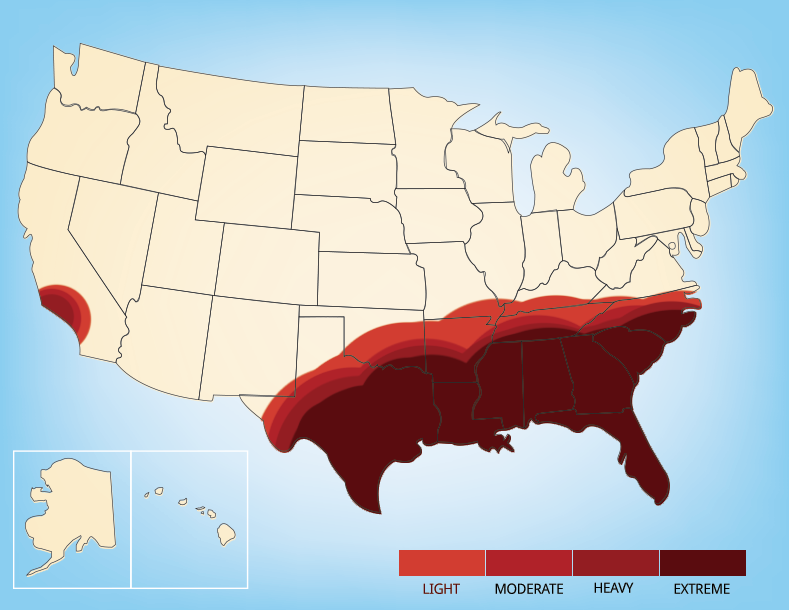 Map showing the areas where fire ants can be found in the United States