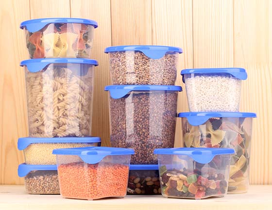 Image of food stored in rubber air-tight containers