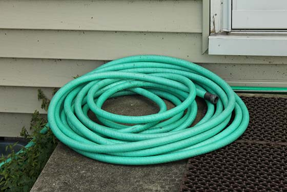 Image of a coiled garden hose
