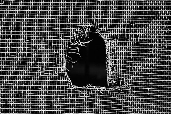 Image of a window screen with a hole in it