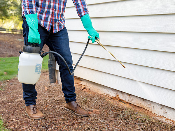 Image of person spraying foundation of a house