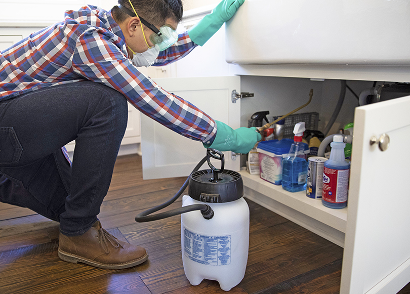 Image of spraying beneath the sink