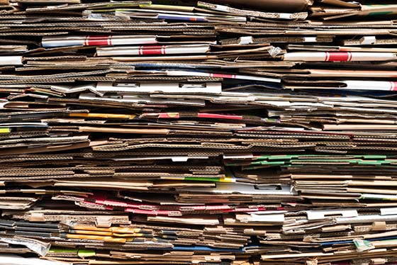 Image of stacked flattened cardboard