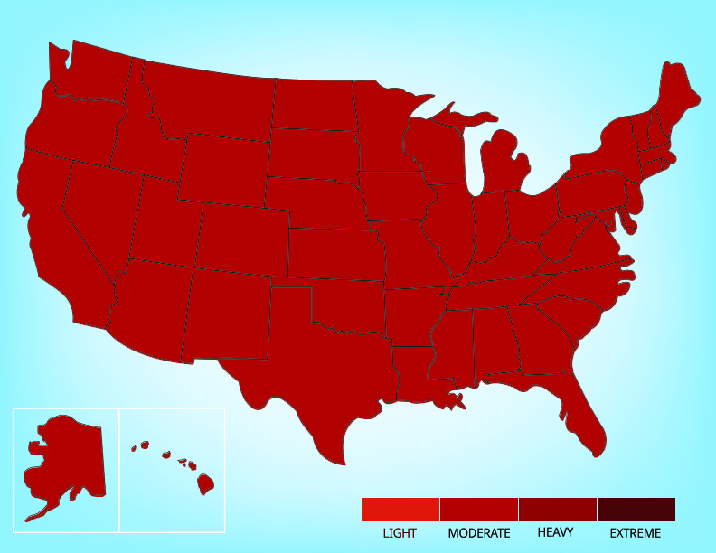 Map showing the range of the house mouse in the United States