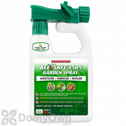 Organocide Bee Safe 3-in-1 Garden Spray RTS Quart With Hose End Attachment