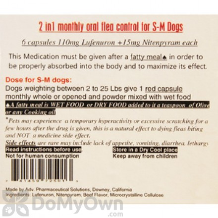 2 In 1 Monthly Oral Flea Control Capsules for Small and Medium Dogs