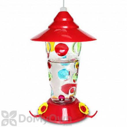 PineBush Glass Handpainted Dots Hummingbird Feeder 17 oz. (88026)