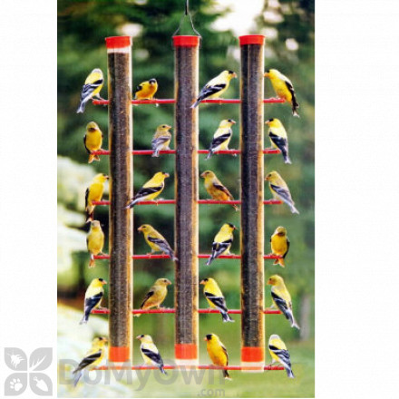 Songbird Essentials Finches Favorite Red 3 Tube Bird Feeder (SE324)
