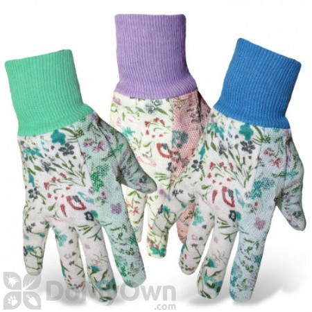 Boss Ladies Victorian Print Cotton with Dotted Palm Knit Wrist Glove