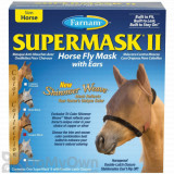 Farnam SuperMask II Horse Fly Mask Shimmer Weave with Ears - Copper/Black (Horse)