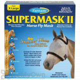 Farnam SuperMask II Horse Fly Mask Shimmer Weave with Ears - Silver/Black (X-Large)