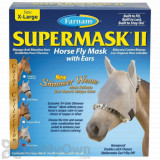 Farnam SuperMask II Horse Fly Mask Shimmer Weave with Ears - Silver/Lynx (X-Large)
