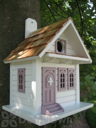 Home Bazaar White with Lavender Shotgun Cottage Bird House (HB9029WL)