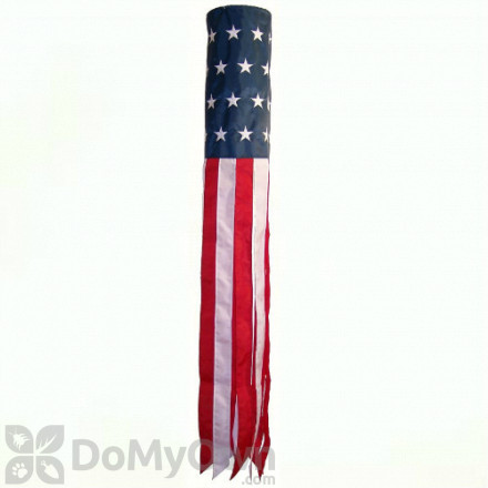 In The Breeze U.S. Stars and Stripes Embroidered Windsock Hanging Decor 60 in. (ITB4113)