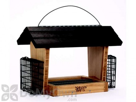 Natures Way Bamboo Hopper Bird Feeder with Suet Basket 6 qt. (BWF19)