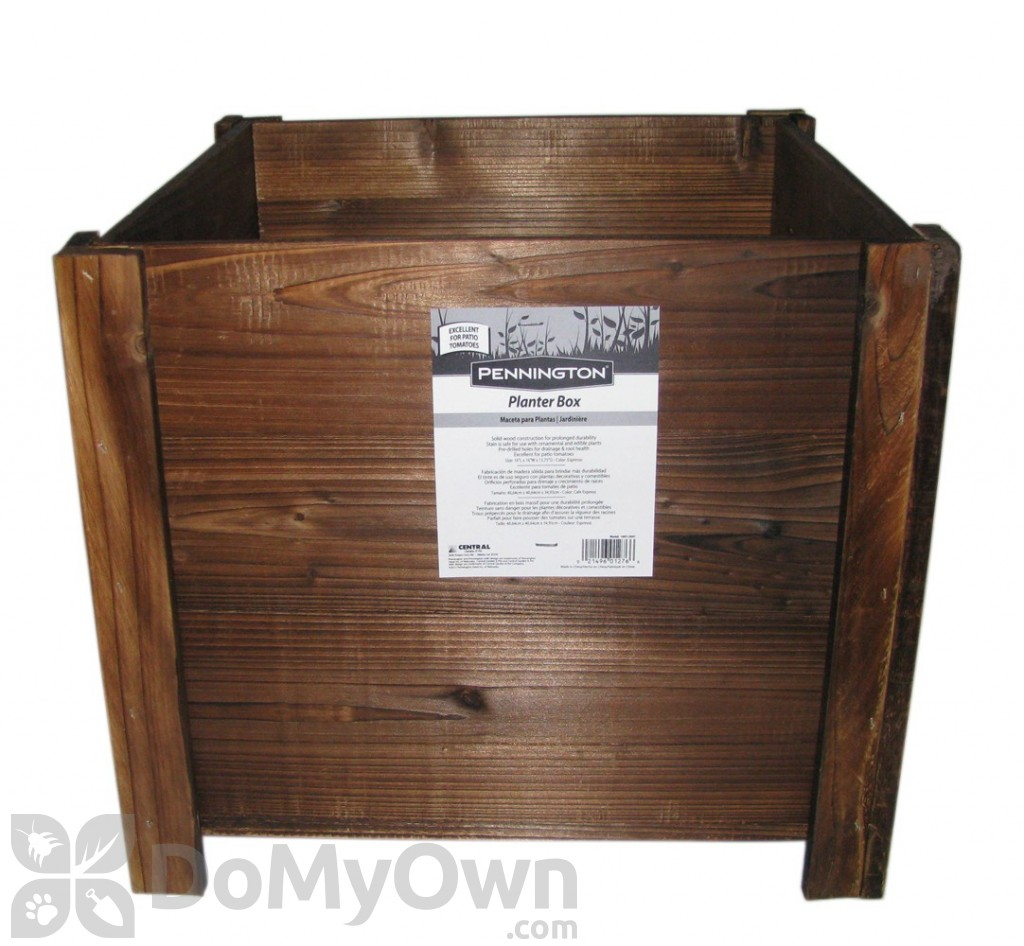Pennington Dark Flame Wood Square Planter Box 16 In