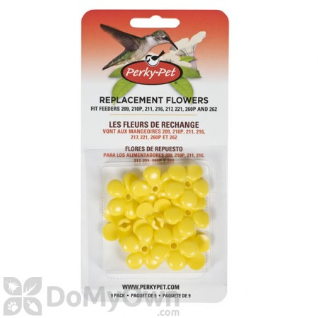 Perky Pet Replacement Small Yellow Flowers For Hummingbird Feeders (9 pack) (202F)