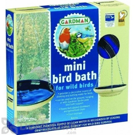 Rainbow Gardman Blue Mini Glazed Bird Bath (BA01124)