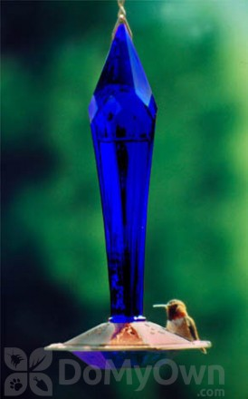 Schrodt Brilliant Blue Faceted Glass Hummingbird Feeder (PBBSFGHFB)