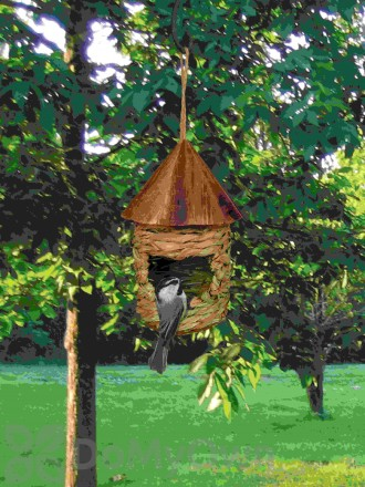 Songbird Essentials Small Hanging Grass Twine Bird House with Roof (SE10345)