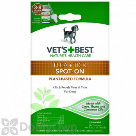 Vets Best Flea and Tick Spot - On Drops Topical Treatment for Dogs