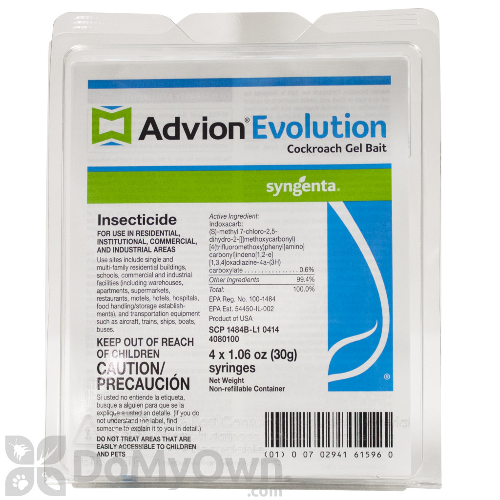 This is an image of Striking Advion Evolution Cockroach Gel Bait Label