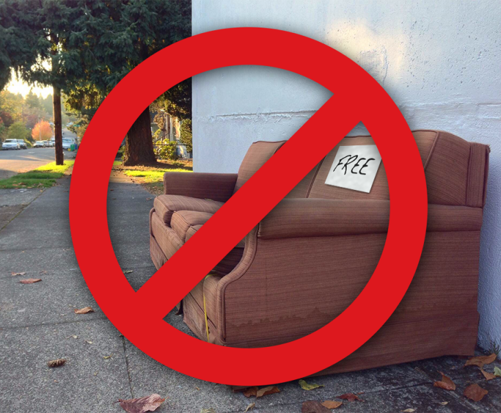 A graphic showing not to use discarded furniture