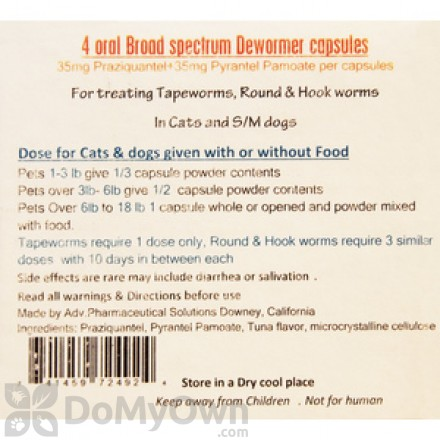 Oral Broad Spectrum Dewormer for Cats and Small Dogs