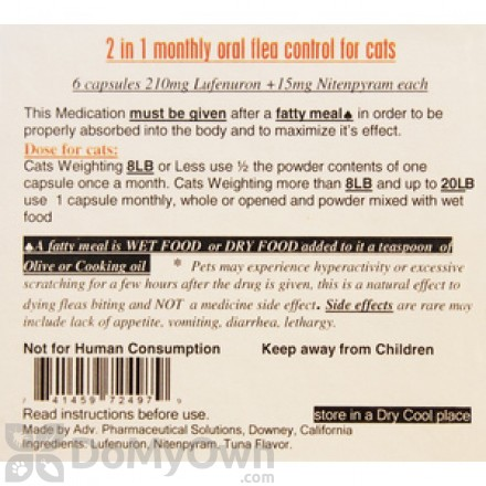 2 in 1 Monthly Oral Flea Control Capsules for Cats