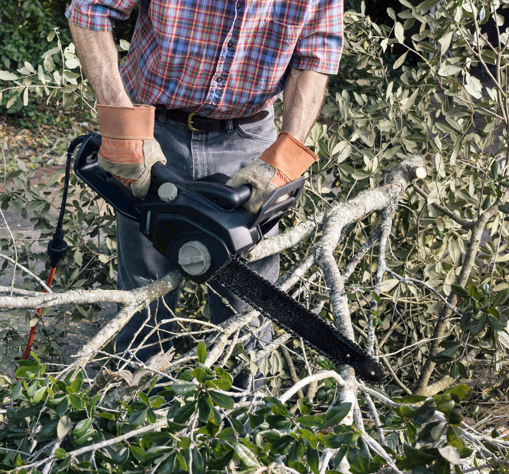 An image of a man cutting wood and yard debris with a chainsaw
