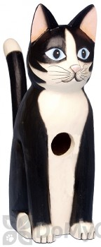 Songbird Essentials Sitting Black and White Cat Bird House (SE3880110)